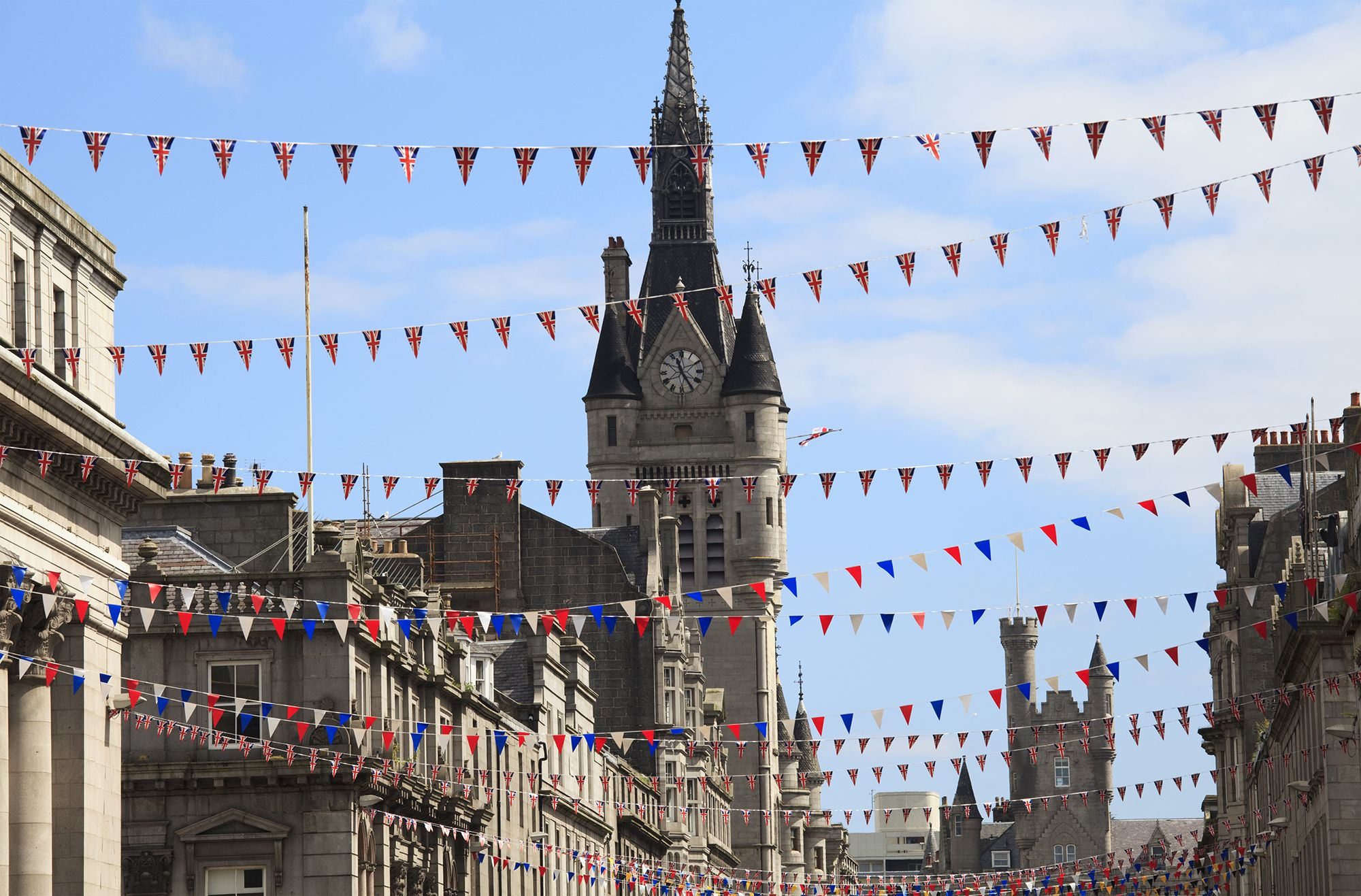 Flags hung on Union Street in Aberdeen