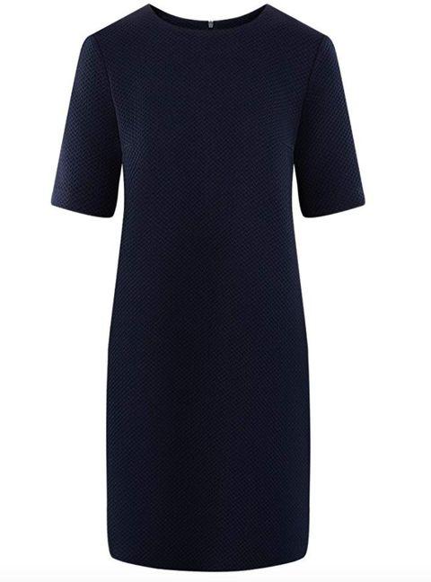 Clothing, Blue, Black, Sleeve, Dress, T-shirt, Neck, Day dress, Sheath dress, Cocktail dress,