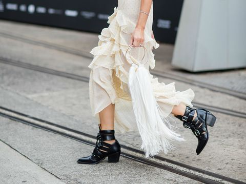 White, Street fashion, Clothing, Footwear, Ankle, Fashion, Leg, High heels, Dress, Shoe,