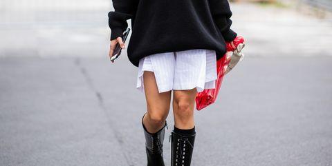 Clothing, Street fashion, White, Black, Fashion, Footwear, Shoulder, Joint, Knee, Boot,