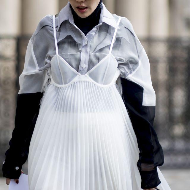 White, Clothing, Fashion, Fashion model, Street fashion, Outerwear, Dress, Black-and-white, Fashion design, Neck,