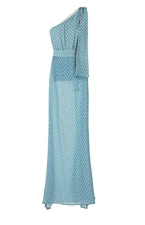 Clothing, Dress, Turquoise, Aqua, Day dress, Pattern, Shoulder, Gown, Textile, Turquoise,