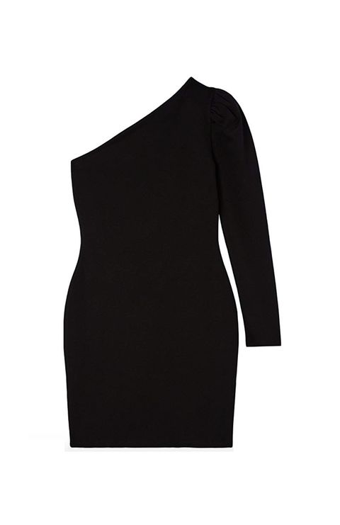 Clothing, Black, Shoulder, Dress, Cocktail dress, Little black dress, Sleeve, Neck, Joint, Sheath dress,