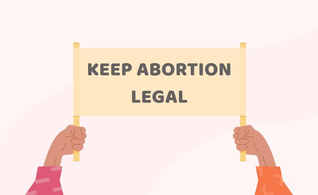 pro choice planned parenthood demonstration a hands holding a sign with caption keep abortion legal protest against the ban on abortion feminist manifestation unwanted pregnancy vector