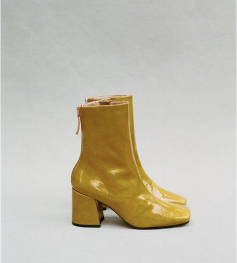 Footwear, Shoe, Boot, Yellow, Tan, Beige, Leather, Durango boot, High heels,