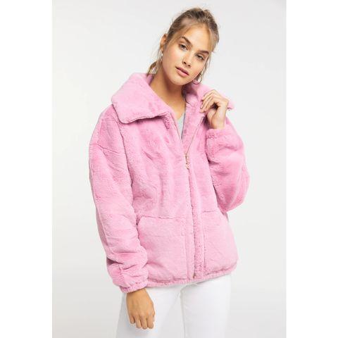 roze faux fur teddy jas mymo