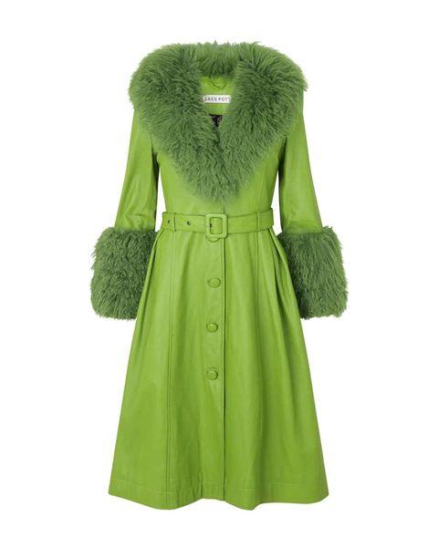 abrigo cuello pelo verde de saks potts