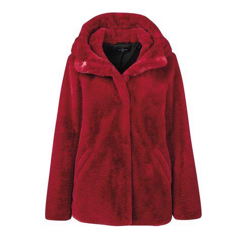 Clothing, Outerwear, Hood, Red, Jacket, Sleeve, Coat, Maroon, Fur, Textile,