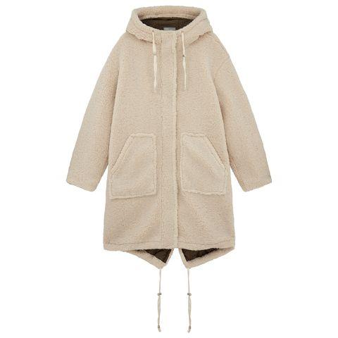 Clothing, Outerwear, Hood, Beige, Coat, Sleeve, Parka, Fur, Jacket, Overcoat,
