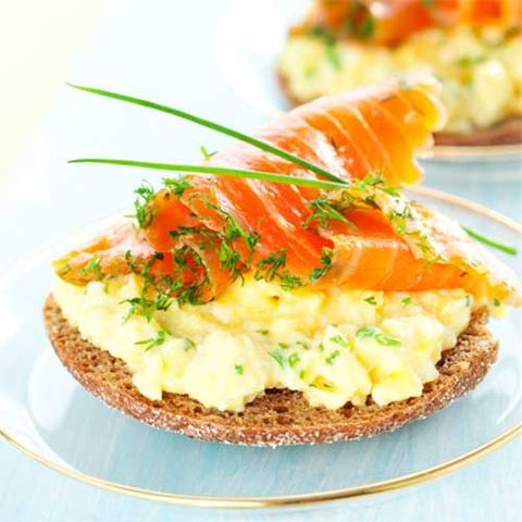 Breakfast: Smoked Salmon And Scrambled Eggs On Toast