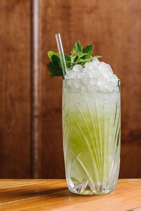Mojito, Drink, Mint julep, Non-alcoholic beverage, Lemonsoda, Rickey, Food, Cocktail garnish, Celery, Limonana,
