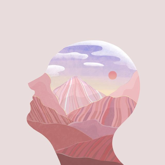 abstract concept of human with pink color mountain