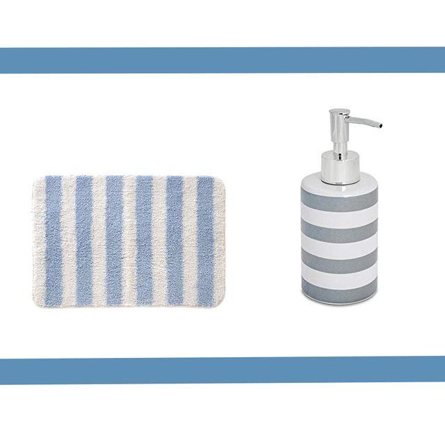 accesorios baño rayas