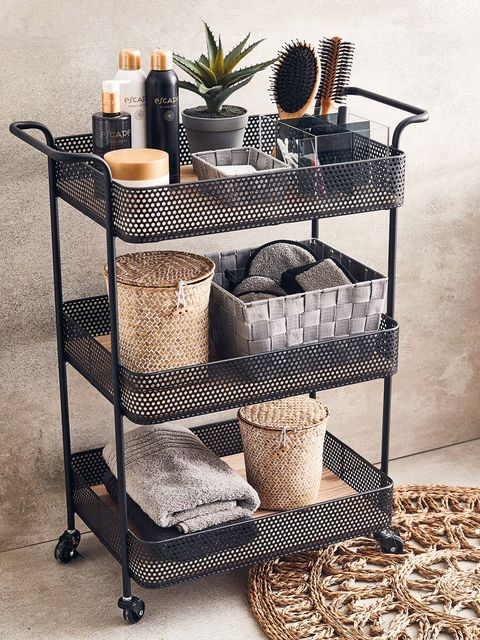 Shelf, Iron, Furniture, Storage basket, Shelving, Wicker, Table, Metal, Room, Kitchen cart,