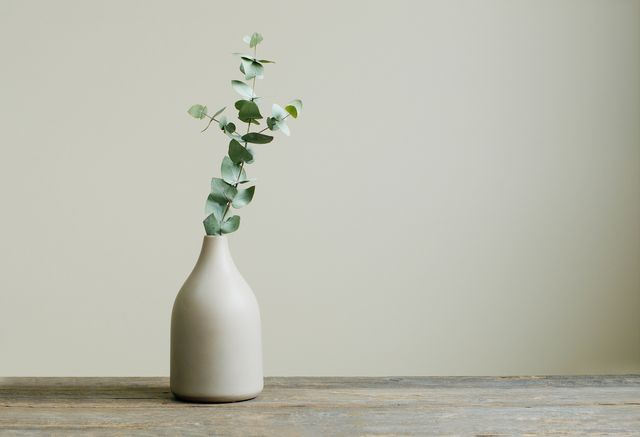 detail of contemporary cozy interior eucalyptus branch in a vase on the rustic wooden table blank space for text on the wall