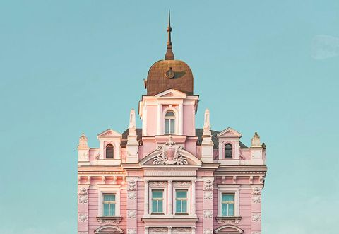 Landmark, Architecture, Building, Steeple, Pink, Classical architecture, Church, Spire, Tower, Sky,