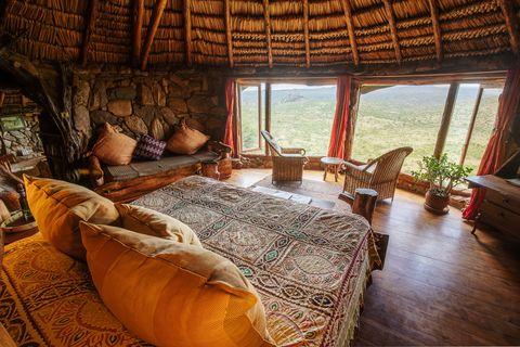 Room, Property, Furniture, Bedroom, Interior design, Resort, Building, House, Eco hotel, Living room,