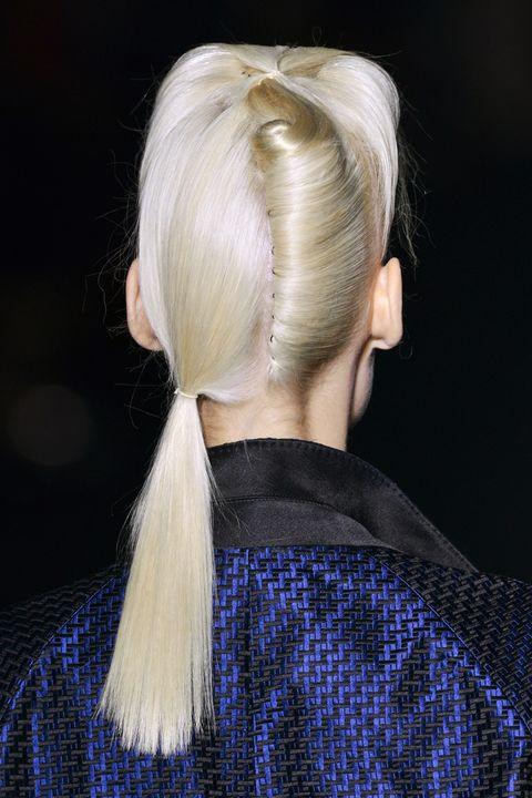 Hair, Hairstyle, Blond, Long hair, Ponytail, Electric blue, Hair coloring, Braid,