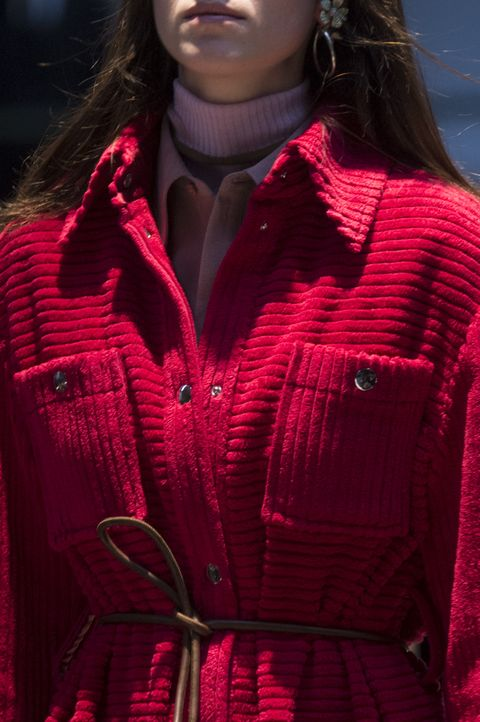 Red, Clothing, Fashion, Outerwear, Beauty, Pink, Jacket, Magenta, Coat, Model,
