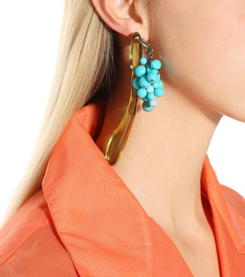 Ear, Turquoise, Earrings, Neck, Jewellery, Turquoise, Body jewelry, Orange, Fashion accessory, Aqua,