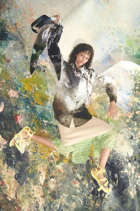 Painting, Illustration, Art, Black hair, Visual arts, Watercolor paint, Leg, Sitting,