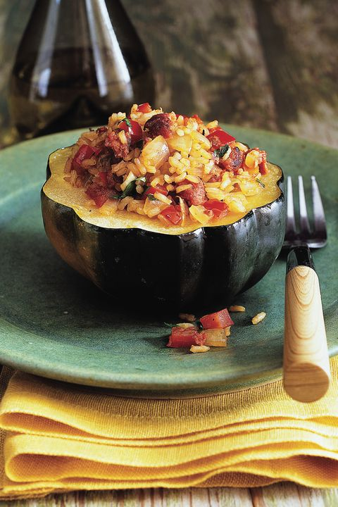 Acorn Squash with Brown Rice and Turkey Sausage