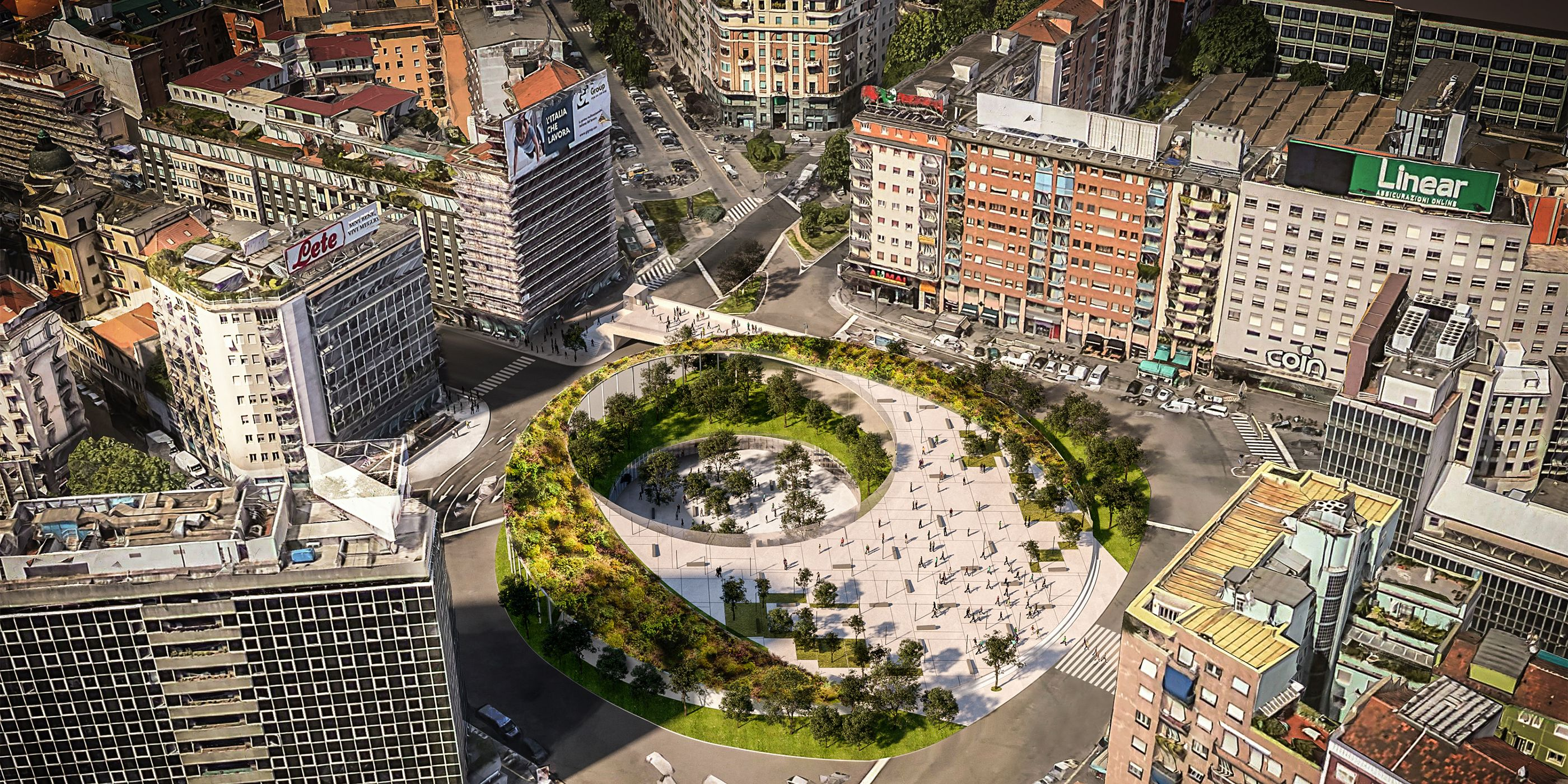 Progetto proposto dallo studio Antonio Citterio Patricia Viel per la rivalutazione di Piazzale Loreto.