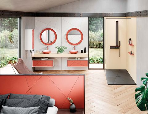 Room, Interior design, Red, Living room, Furniture, Ceiling, Wall, House, Building, Door,
