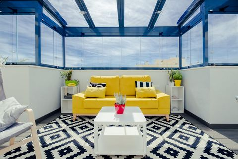 Cerramiento con cortina de cristal para terrazas