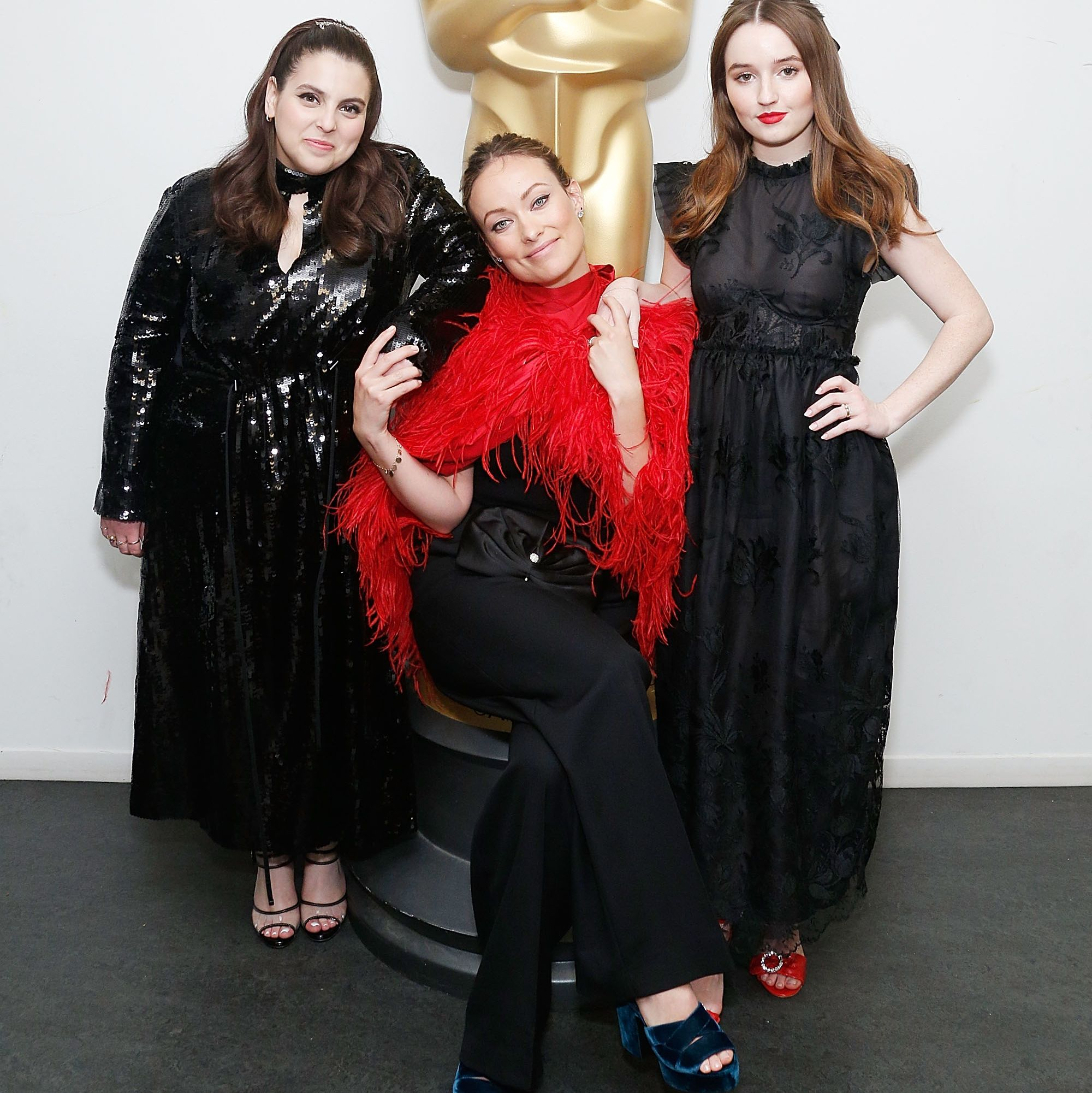 Beanie Feldstein, Olivia Wilde, and Kaitlyn Dever at The Academy of Motion Picture Arts & Sciences screening of Booksmart . The film marks Wilde's directorial debut.