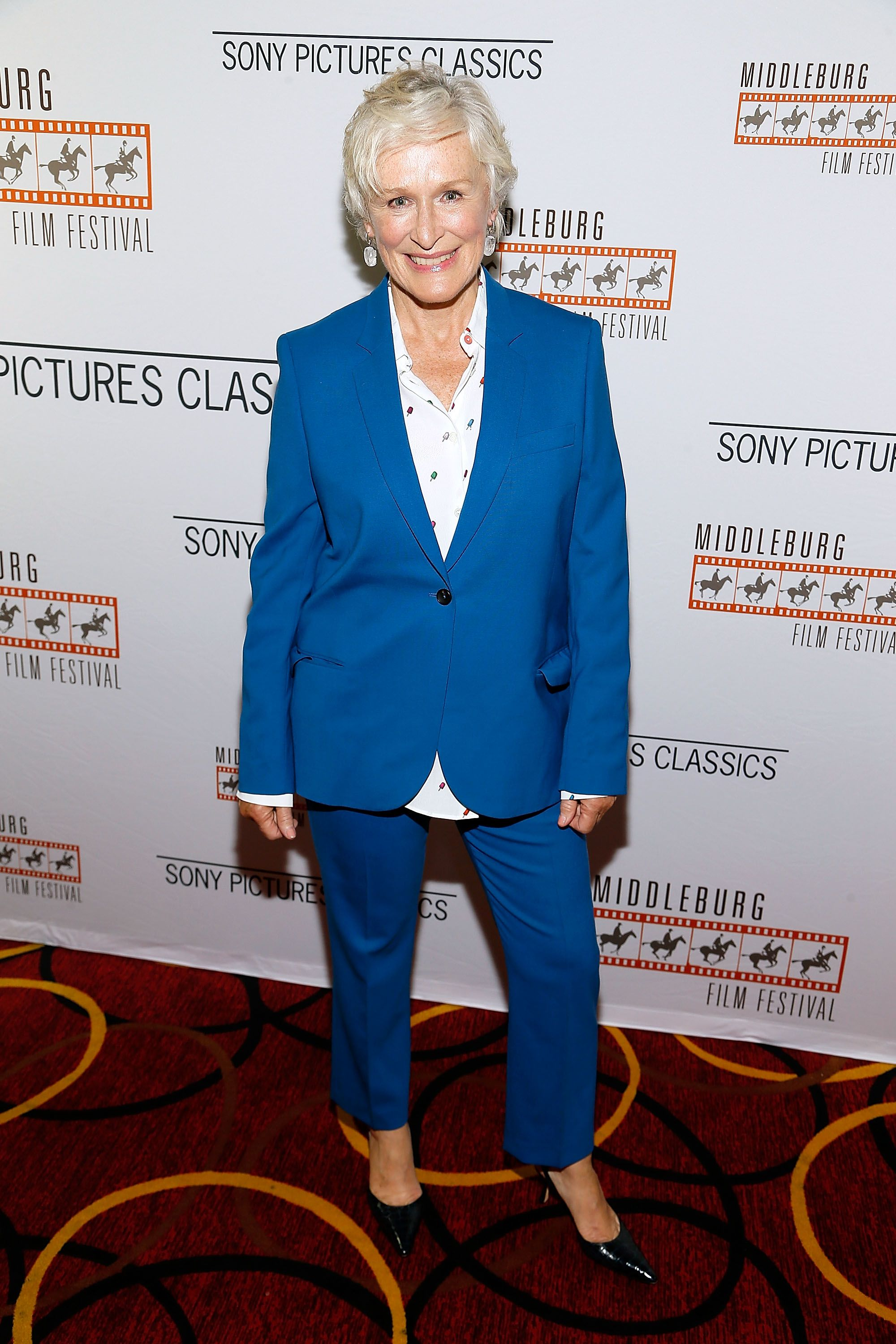 Glenn Close opted for a cerulean-blue suit over a white printed button down for a screening of The Wife in Washington D.C. SHOP SIMILAR Long and lean-fit washable blazer, Banana Republic, $198