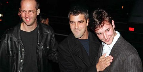 Actors Anthony Edwards (L), George Clooney (C) and