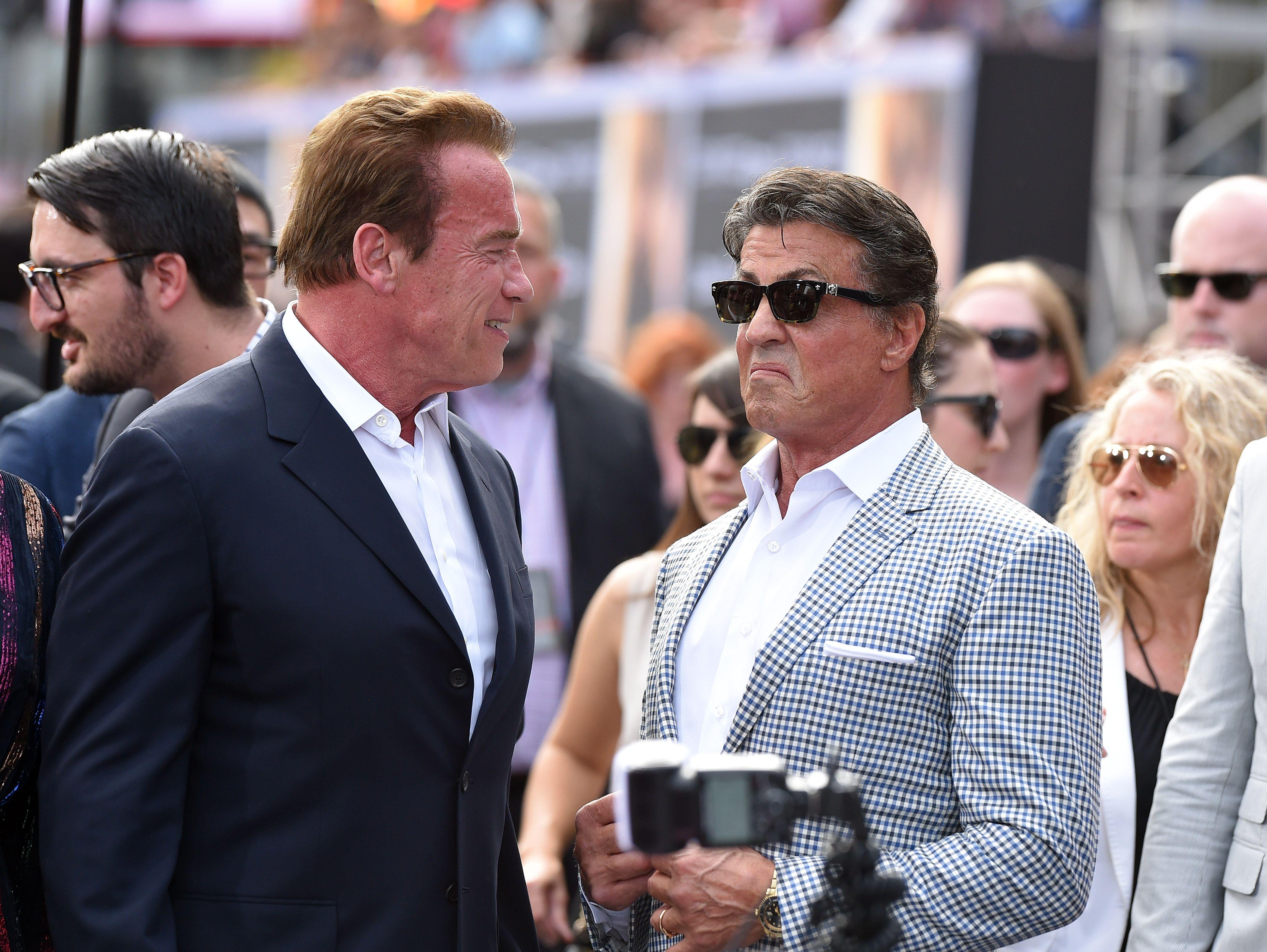 Schwarzenegger Trolls Stallone Over His 'Knife' Size in Instagram Video