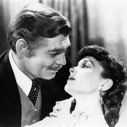 clark gable and vivien leigh embrace in a scene from the movie gone with the wind