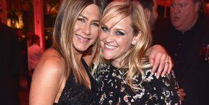 Jennifer Aniston and Reese Witherspoon at the 2017 Vanity Fair Oscar Party Hosted By Graydon Carter - Inside