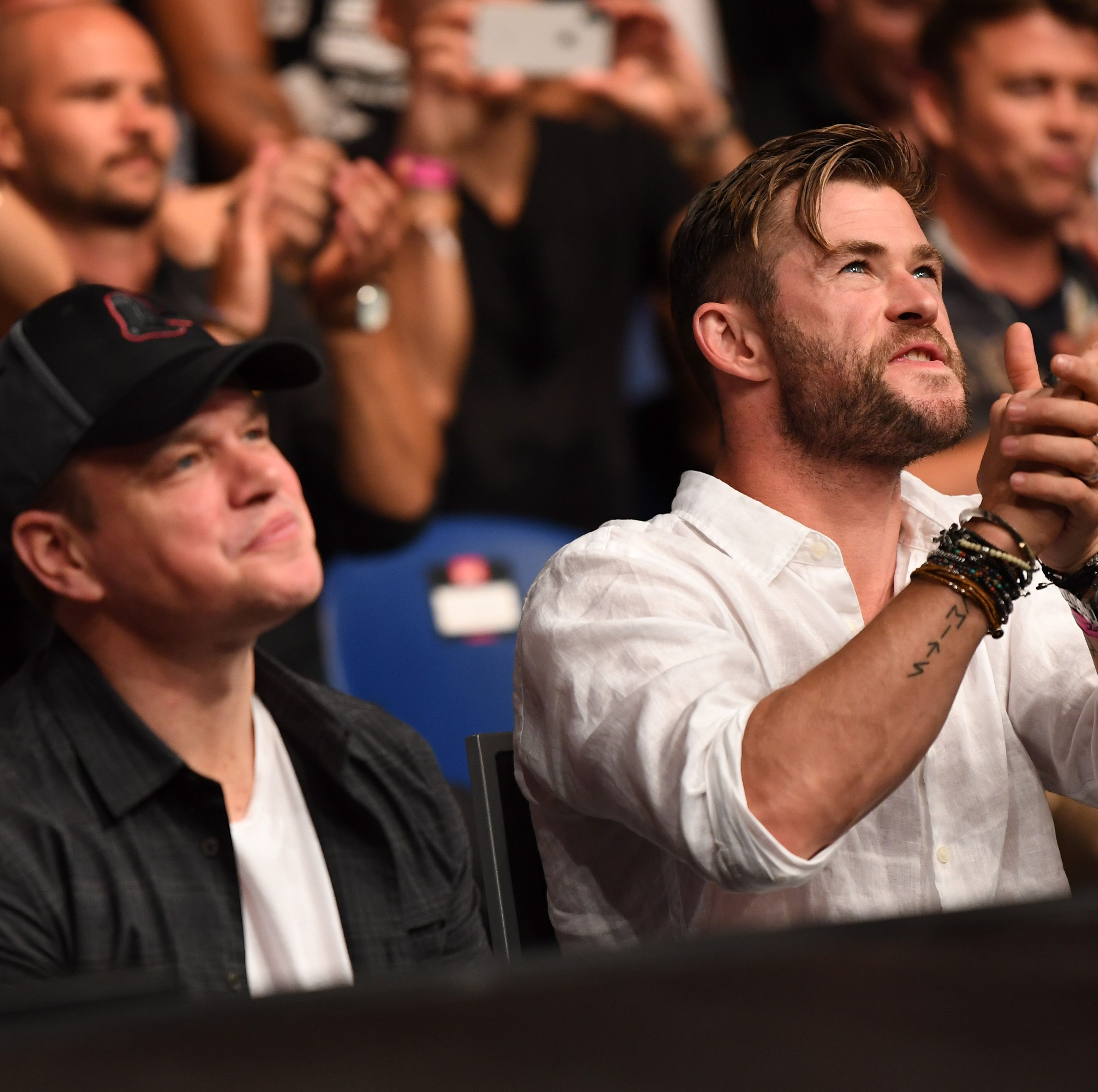 Chris Hemsworth and Matt Damon Watched an AFL Game and a UFC Fight in Australia