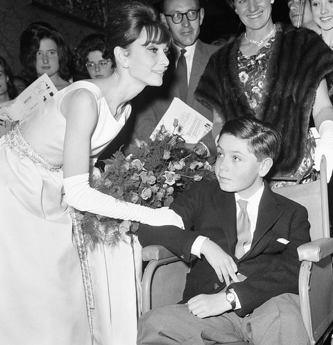 Actress Audrey Hepburn meets 14 year old Stephen reid from Chesham, Buckinghamshire at the London premiere of her latest