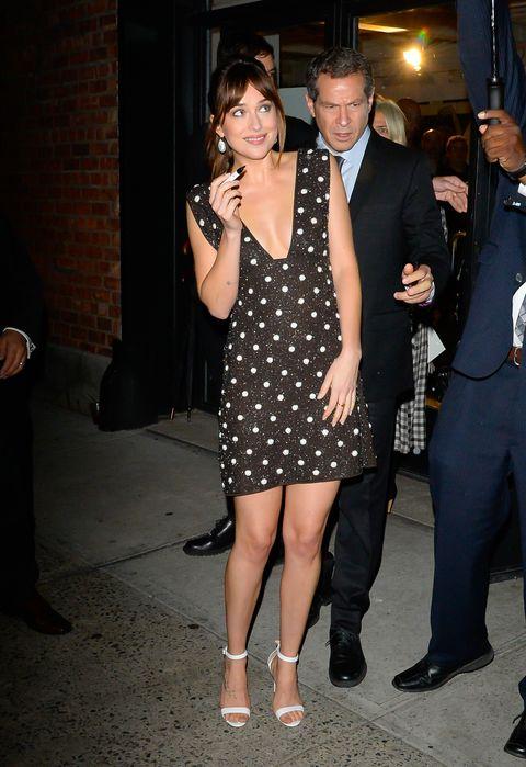 Dakota Johnson Steps Out In Polka Dot Mini Dress By Ganni