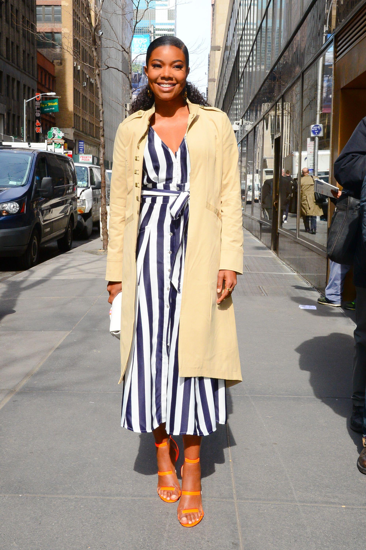 Gabrielle Union Going for neutrals or nautical stripes?