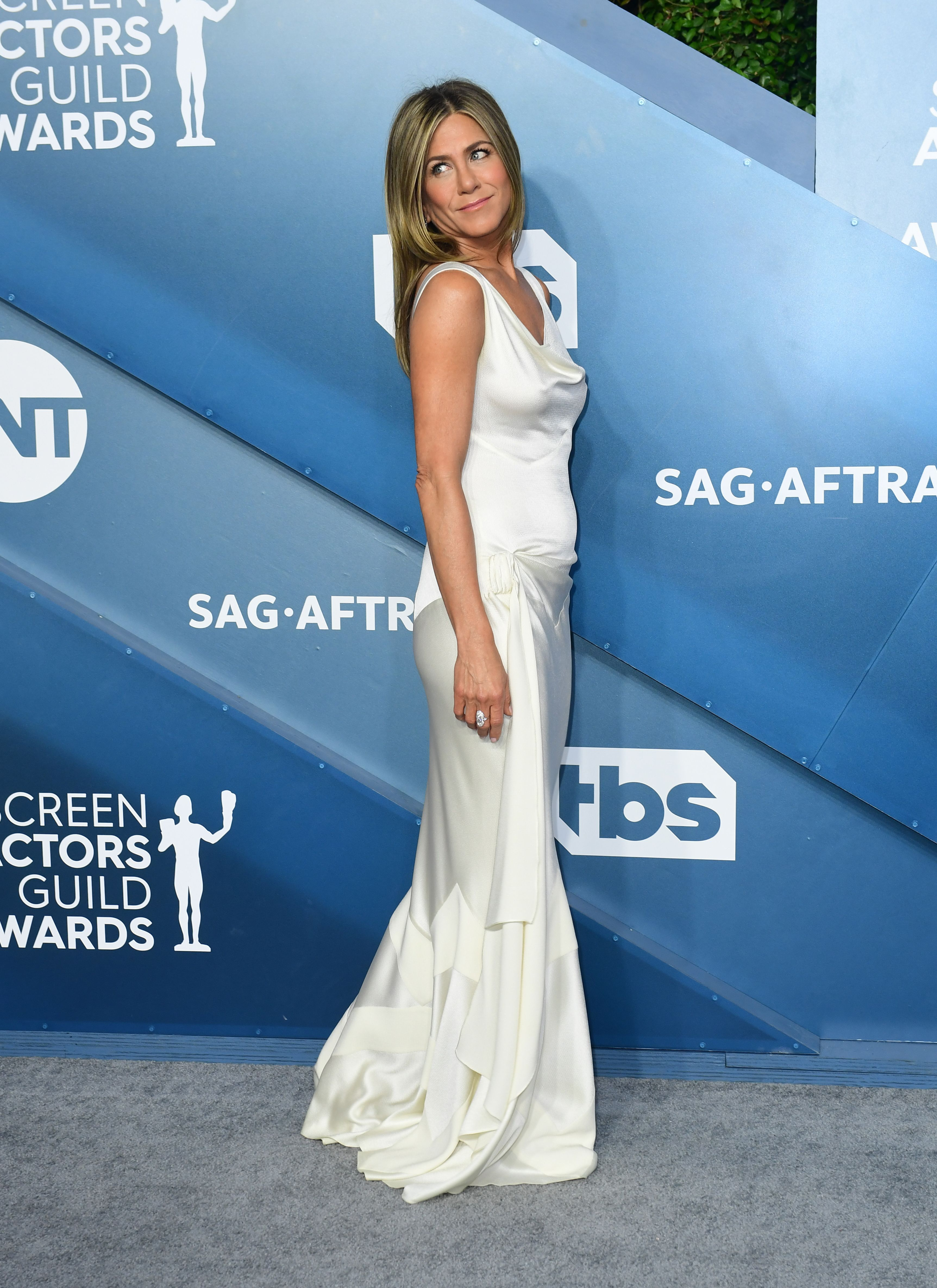 Jennifer Aniston Channels Bridal Vibes in a White Dress at the 2020 SAG Awards