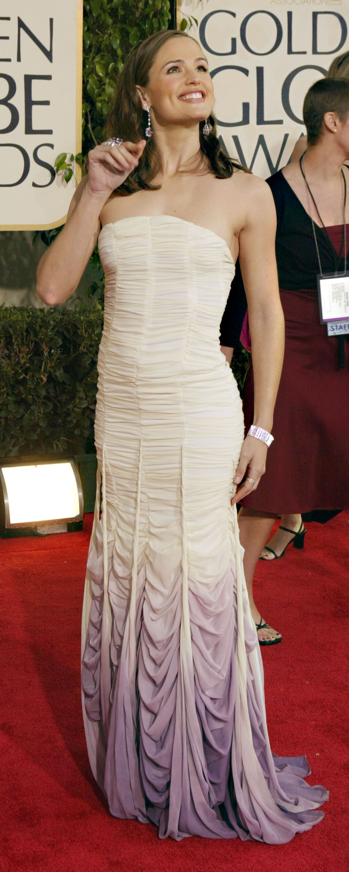 January 25, 2004 In a ruched ombré gown the 61st annual Golden Globe Awards in Beverly Hills.