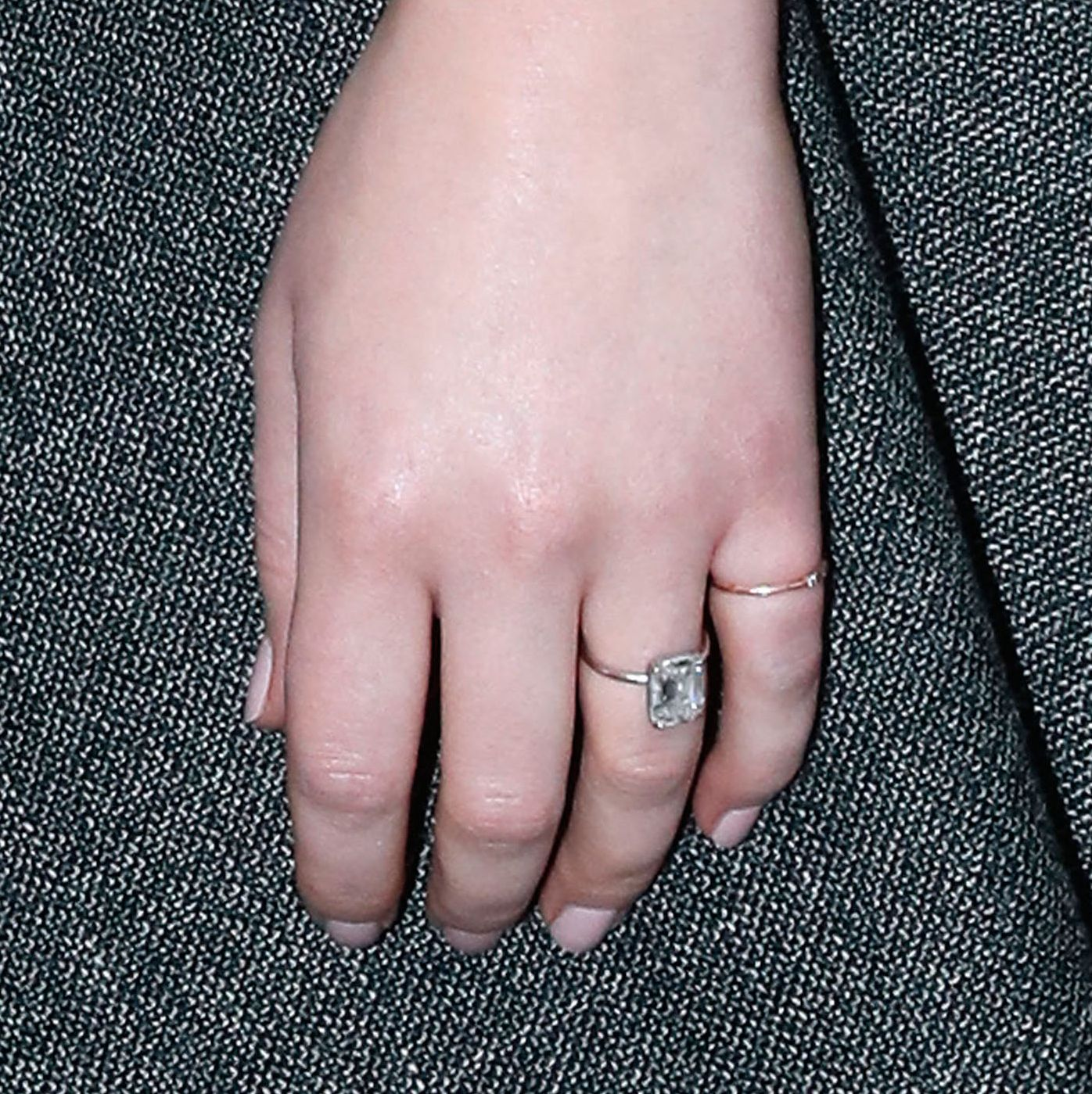 A shot of Lawrence's stunning engagement ring.