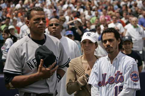 Jennifer Lopez and Marc Anthony - New York Yankees vs New York Mets - May 21, 2005