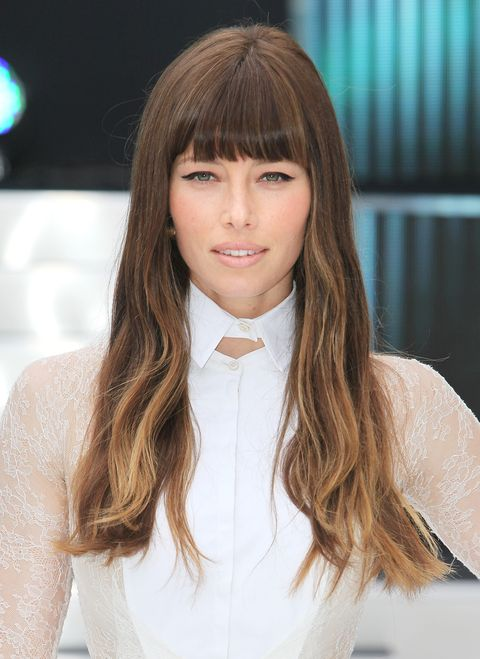 Hairstyles with bangs- Jessica Biel