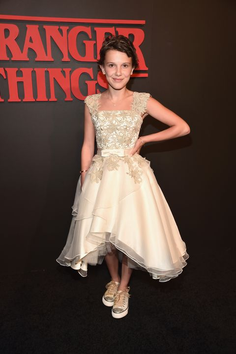 Millie Bobby Brown Attends Sag Awards In An 80s Wedding Dress