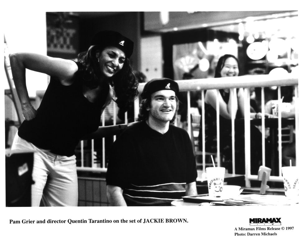 Jackie Brown (1997) Grier and Tarantino share a moment on the set of Jackie Brown. Jackson and Grier both received Golden Globe Award nominations for their work in the film.
