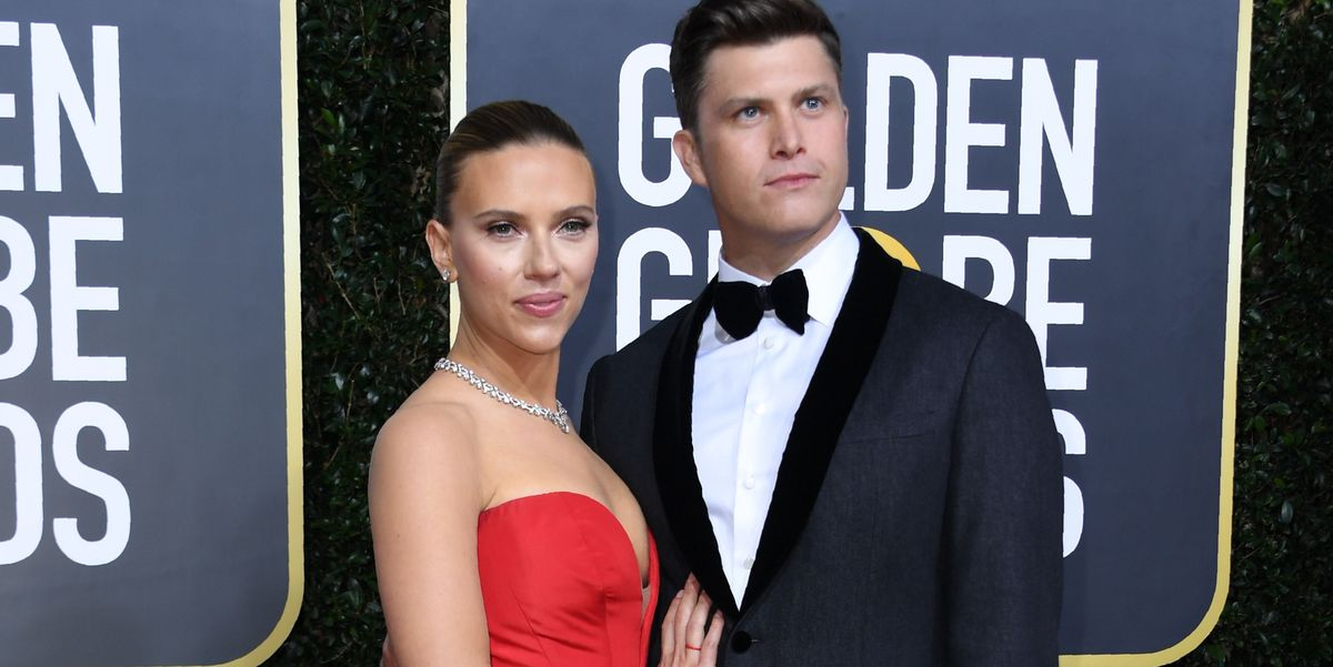 Scarlett Johansson And Colin Jost Show Pda On Golden Globes Red Carpet
