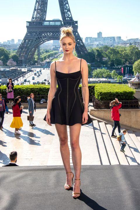 3a5b6d68dd Sophie Turner Wears a Mini Mugler Dress in Paris to Promote X-Men ...