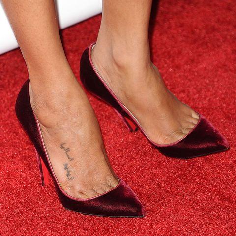 Footwear, Human leg, Red, Joint, Fashion, Carmine, Tan, Foot, Close-up, Toe,