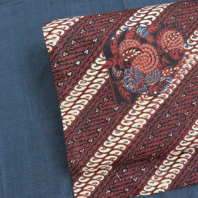 塩沢紬の着物とジャワ更紗の帯